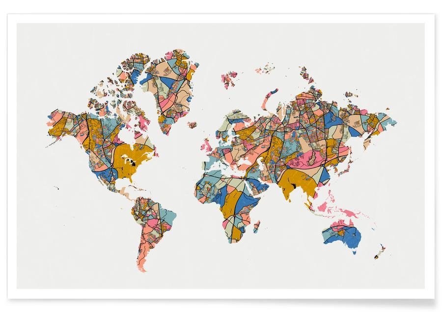 Weltkarten, World Map -Poster