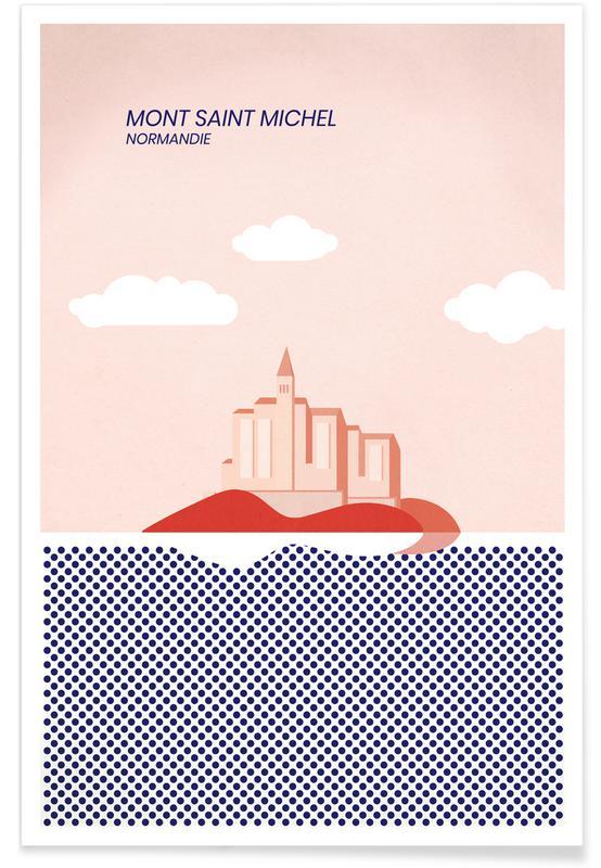 Ozeane, Meere & Seen, Sehenswürdigkeiten & Wahrzeichen, Abstrakte Landschaften, Mont Saint Michel -Poster