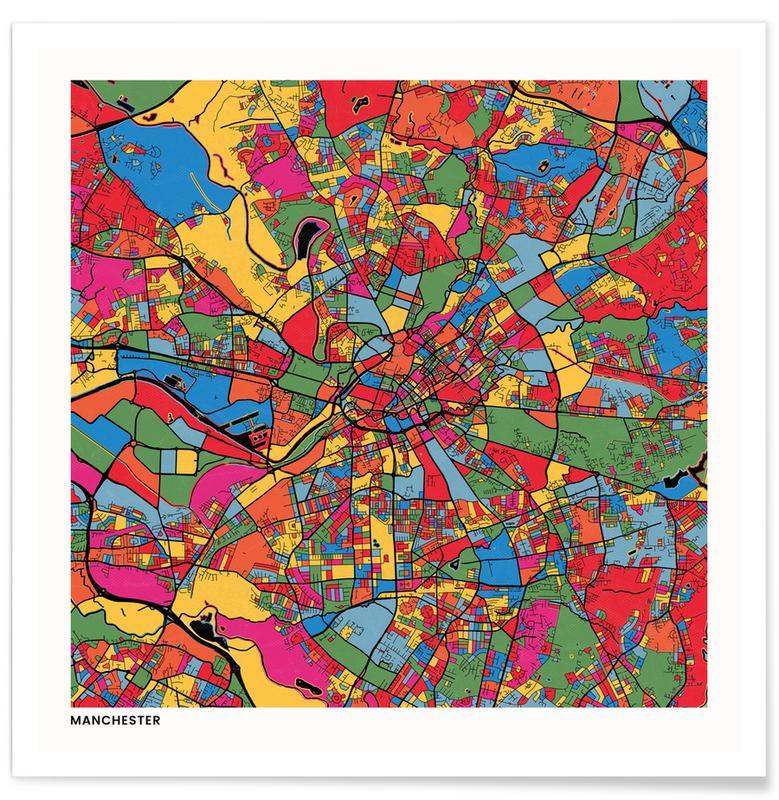 Cartes de villes, Manchester affiche