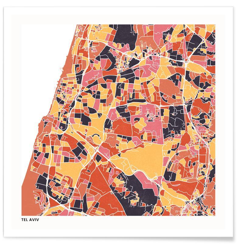 Cartes de villes, Tel Aviv II affiche