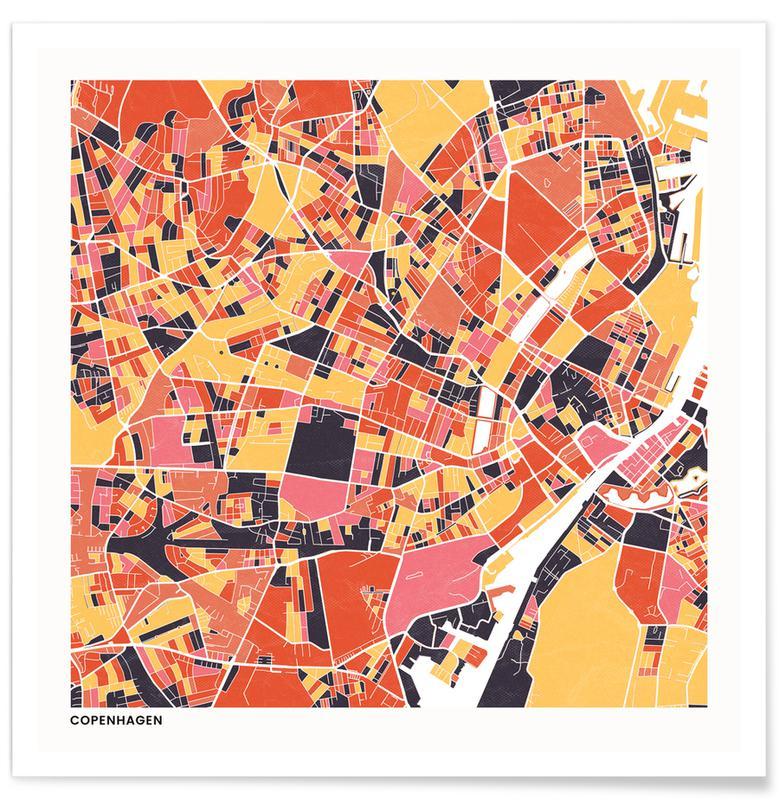 Cartes de villes, Copenhagen II affiche
