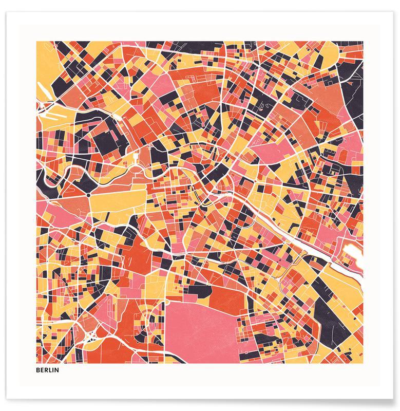 Cartes de villes, Berlin II affiche