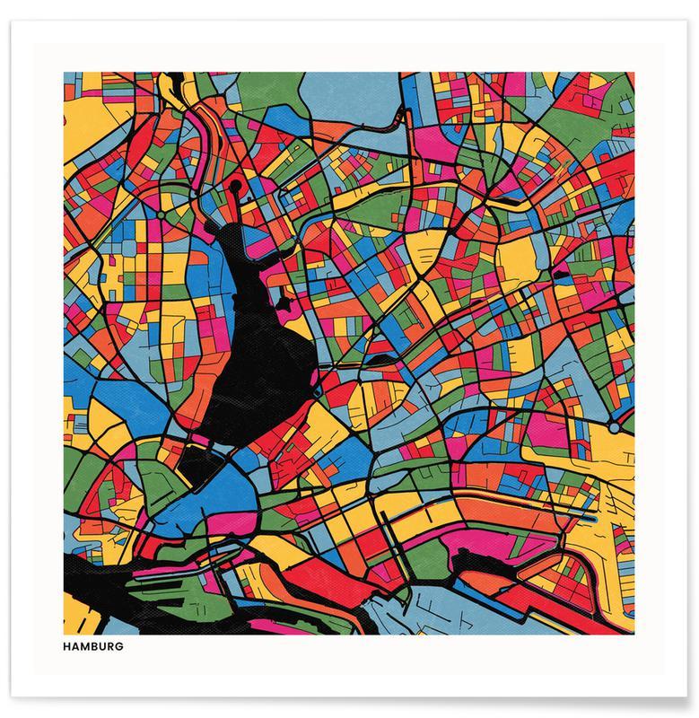 Cartes de villes, Hamburg affiche
