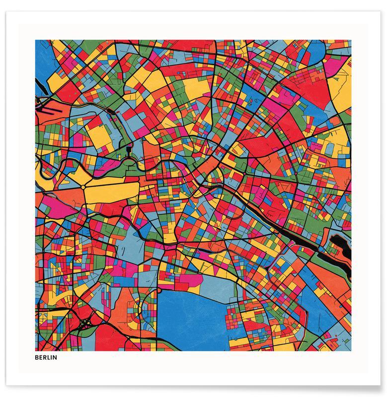 Cartes de villes, Berlin affiche