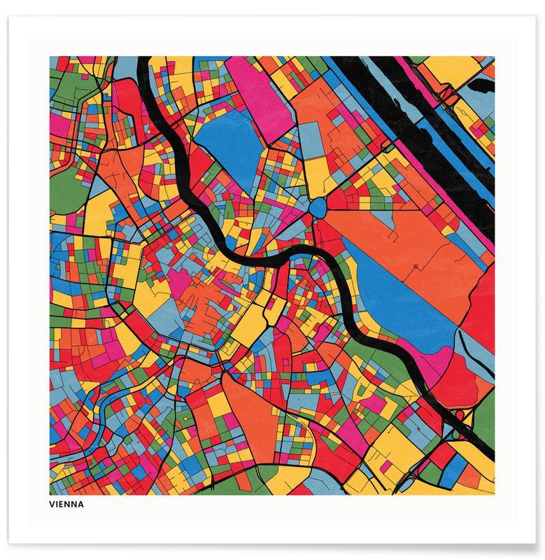 Cartes de villes, Vienna affiche