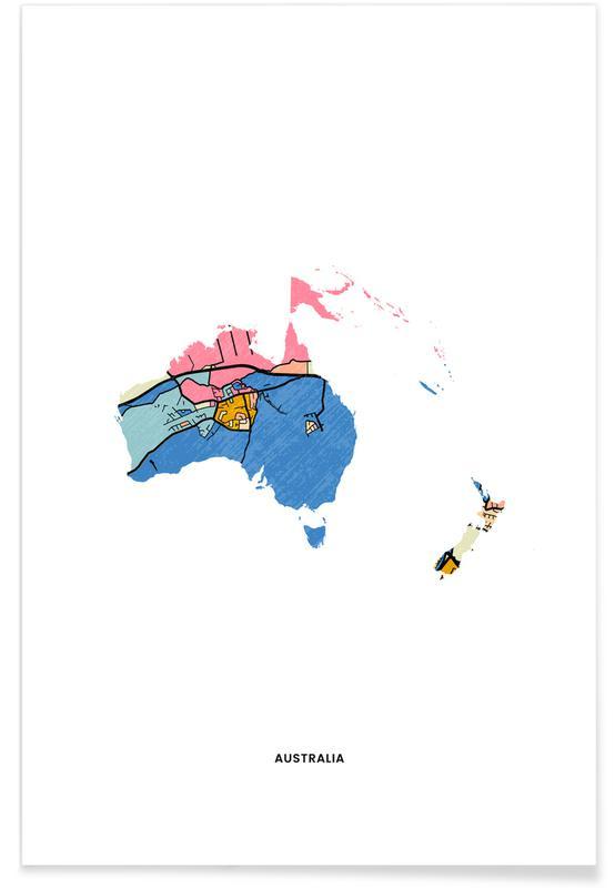 Länderkarten, Australia -Poster