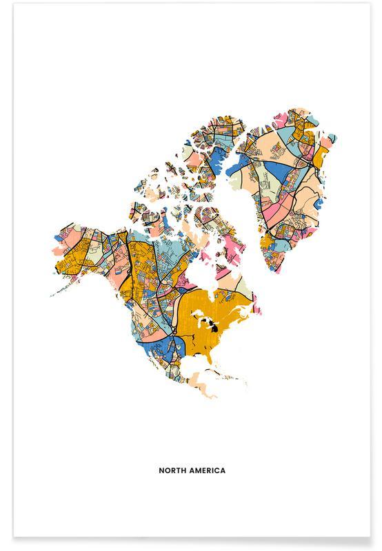 Wereldkaarten, North America poster