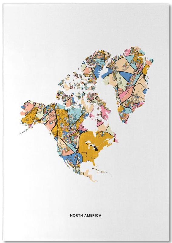 Wereldkaarten, North America notitieblok