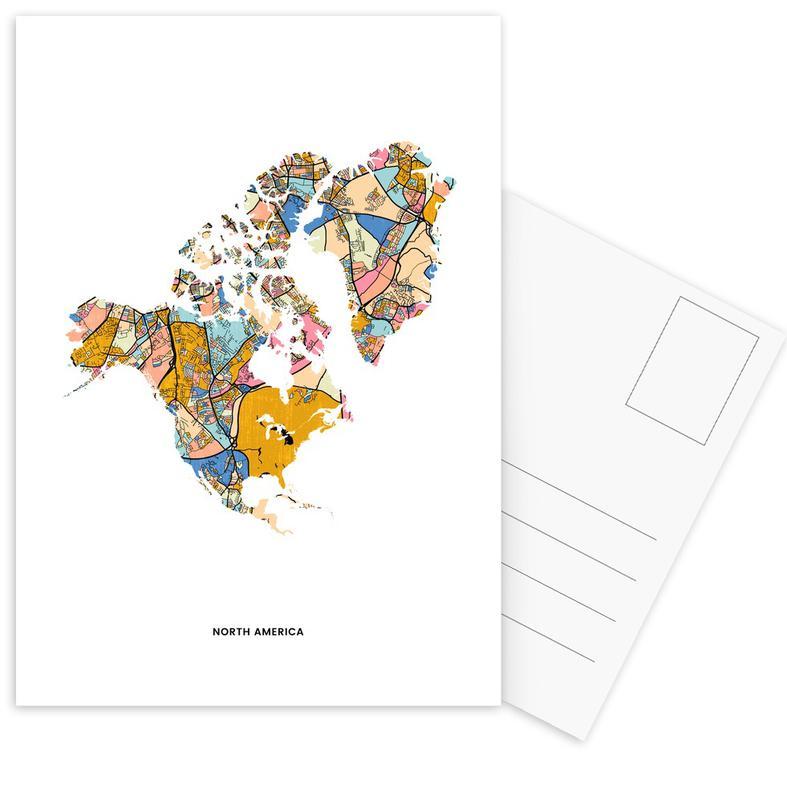 World Maps, North America Postcard Set