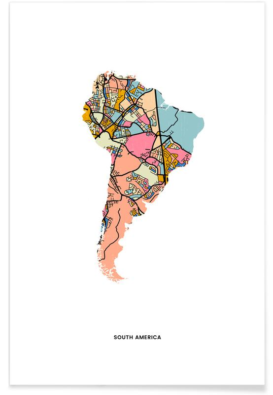 Cartes du monde, Cartes de pays, South America affiche