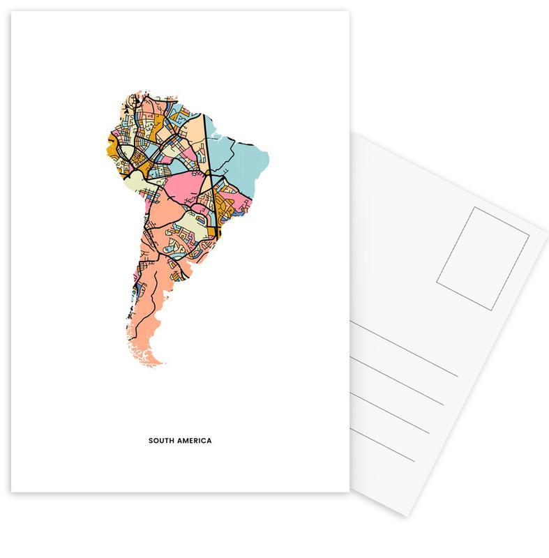 World Maps, Country Maps, South America Postcard Set