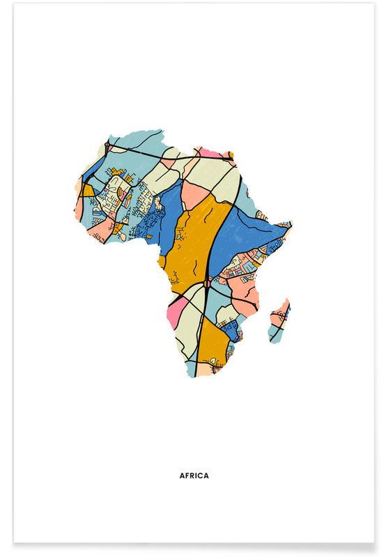 Cartes du monde, Africa affiche