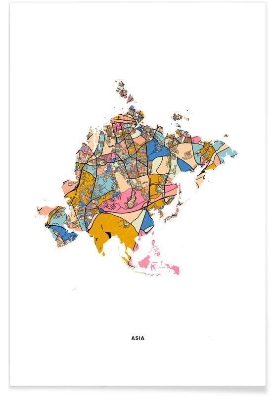 Cartes du monde, Asia affiche