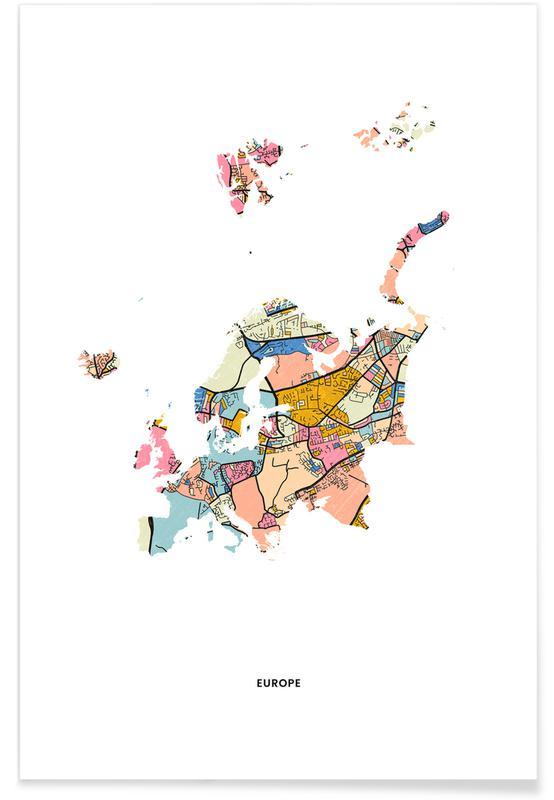 Weltkarten, Europe -Poster