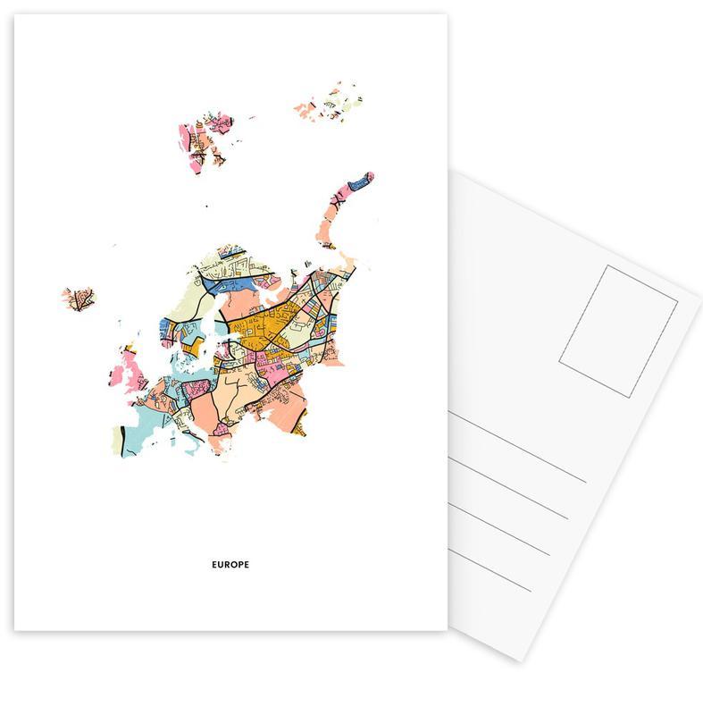 World Maps, Europe Postcard Set