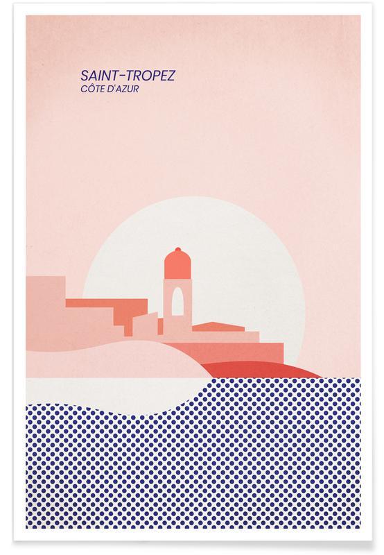Hav, sø & havlandskab, Abstrakte landskaber, Saint-Tropez Plakat