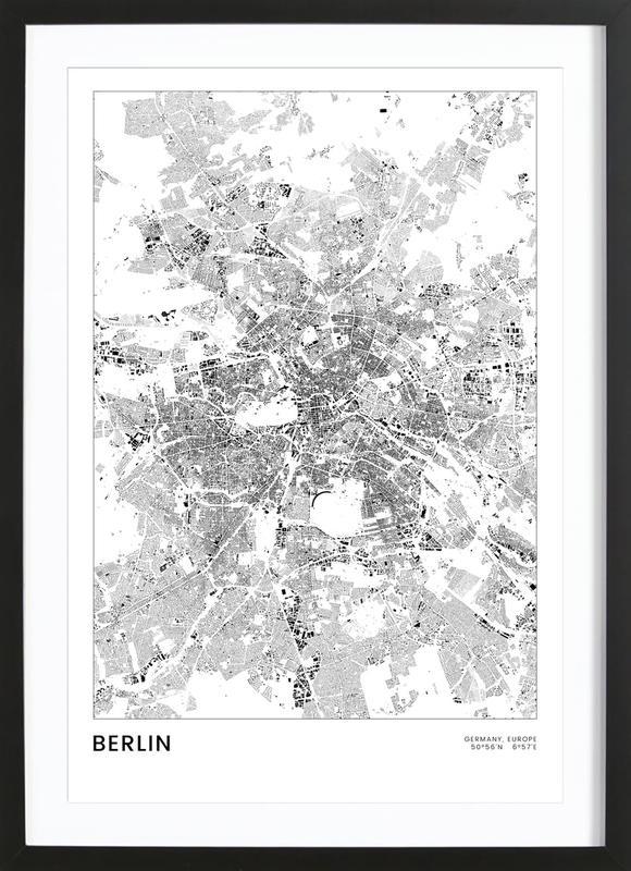 Berlin Map -Bild mit Holzrahmen