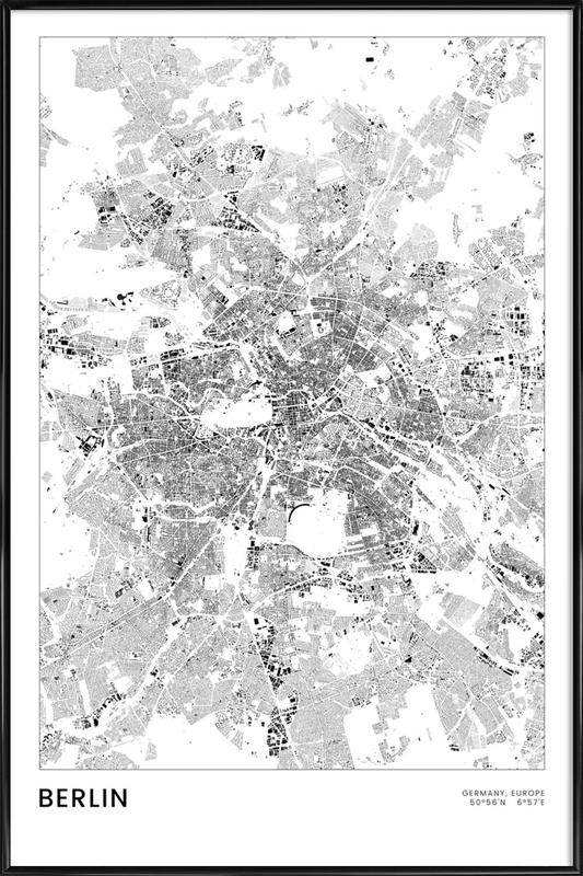 Berlin Map Poster i standardram