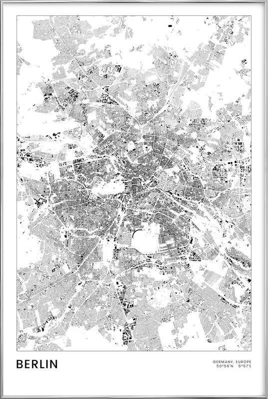 Berlin Map Poster in Aluminium Frame