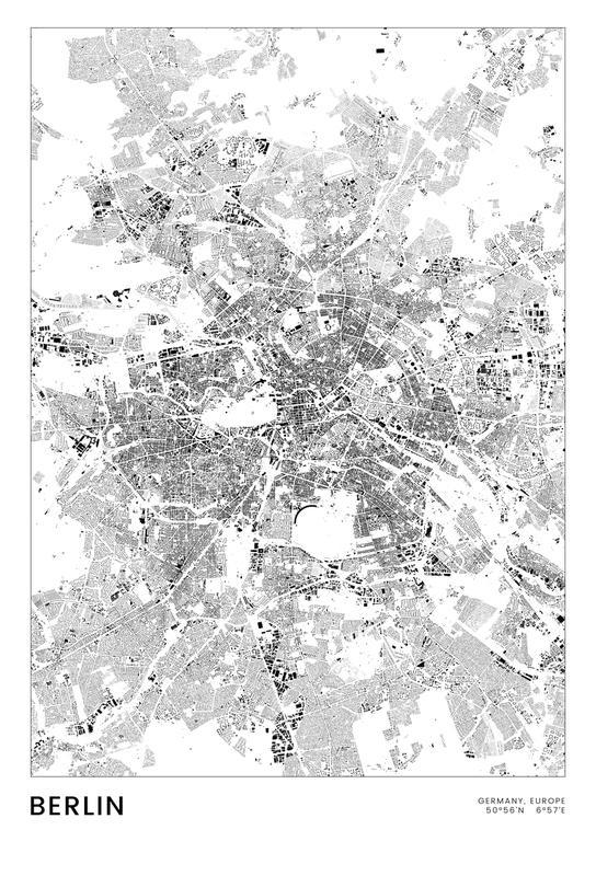 Berlin Map Aluminium Print