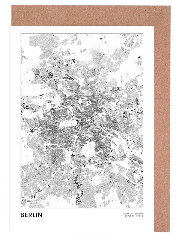 Berlin, Schwarz & Weiß, Berlin Map -Grußkarten-Set