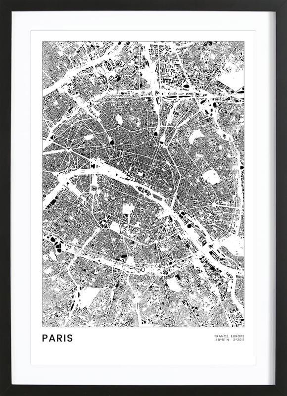 Paris affiche sous cadre en bois