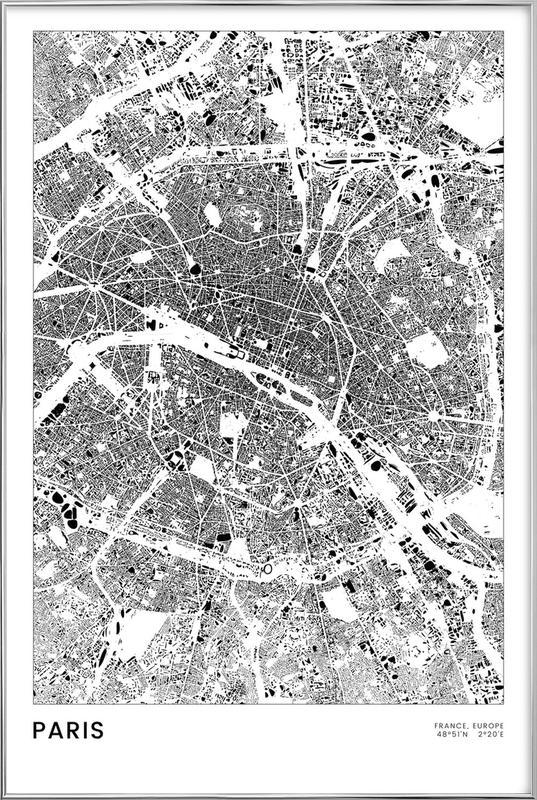 Paris affiche sous cadre en aluminium