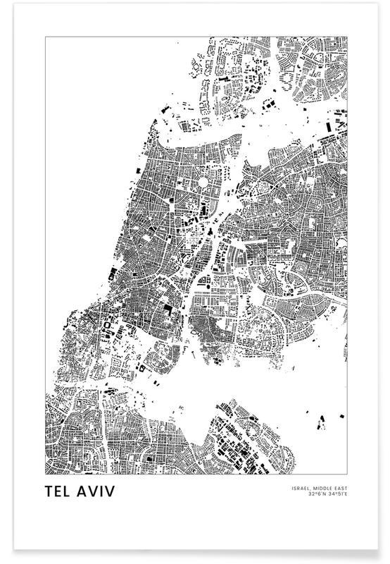 Mapas de ciudades, Viajes, Blanco y negro, Tel Aviv póster