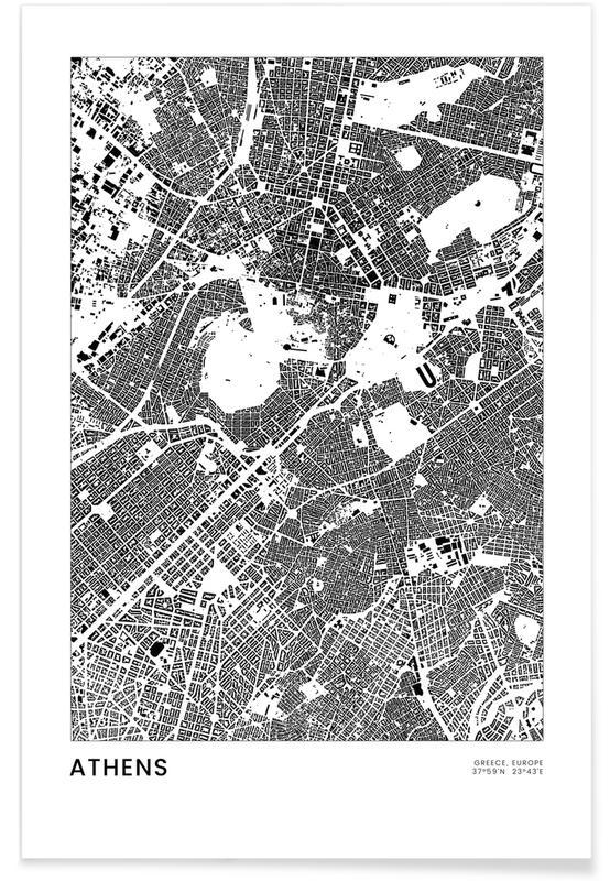 Black & White, City Maps, Travel, Athens Poster