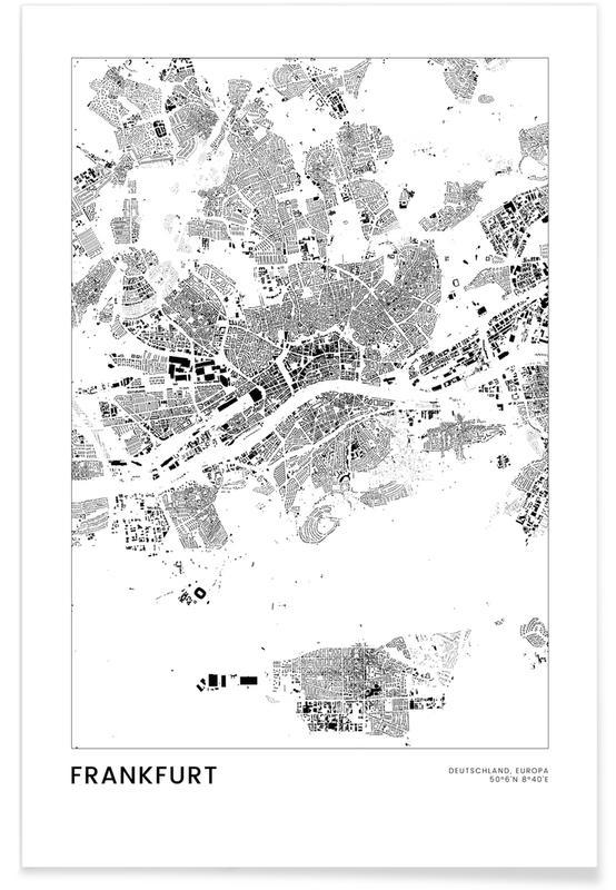 Francfort, Voyages, Noir & blanc, Cartes de villes, Frankfurt affiche