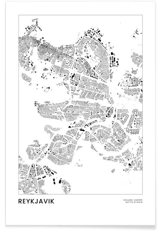 Sort & hvidt, Bykort, Rejser, Reykjavik Plakat