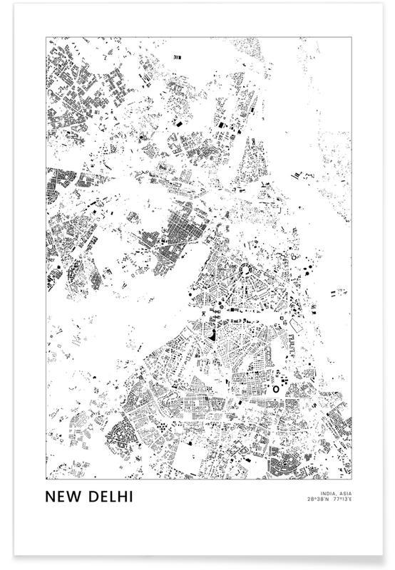 Schwarz & Weiß, Reise, Stadtpläne, New Delhi -Poster