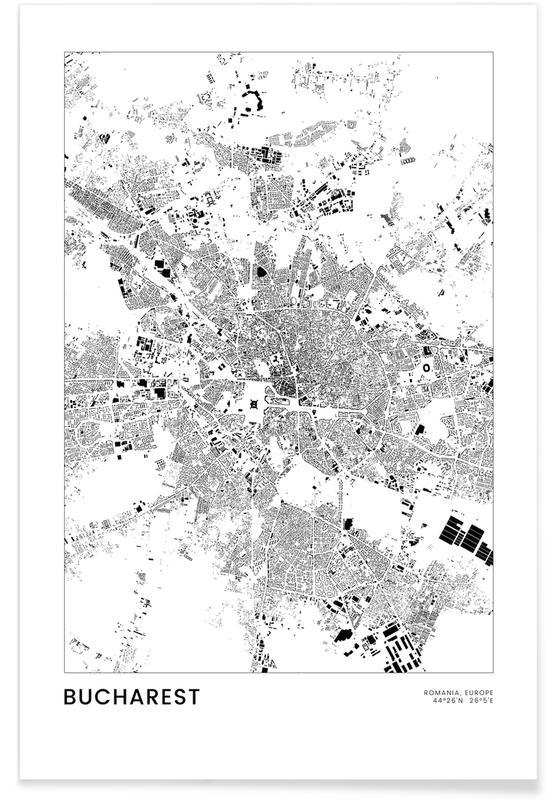 Mapas de ciudades, Viajes, Blanco y negro, Bucharest póster