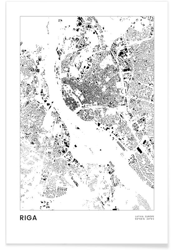 Schwarz & Weiß, Reise, Stadtpläne, Riga -Poster