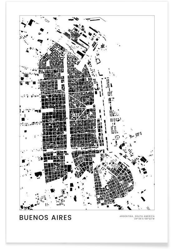 Bianco & nero, Mappe città, Viaggio, Buenos Aires poster