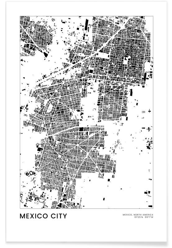 Sort & hvidt, Bykort, Rejser, Mexico City Plakat