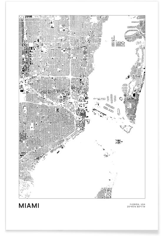 Miami, Zwart en wit, Reizen, Stadskaarten, Miami poster