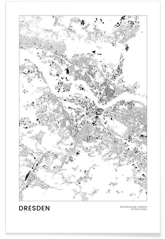 Bianco & nero, Mappe città, Viaggio, Dresden poster