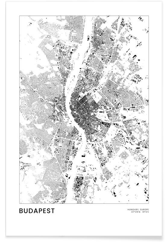 Black & White, City Maps, Travel, Budapest Poster