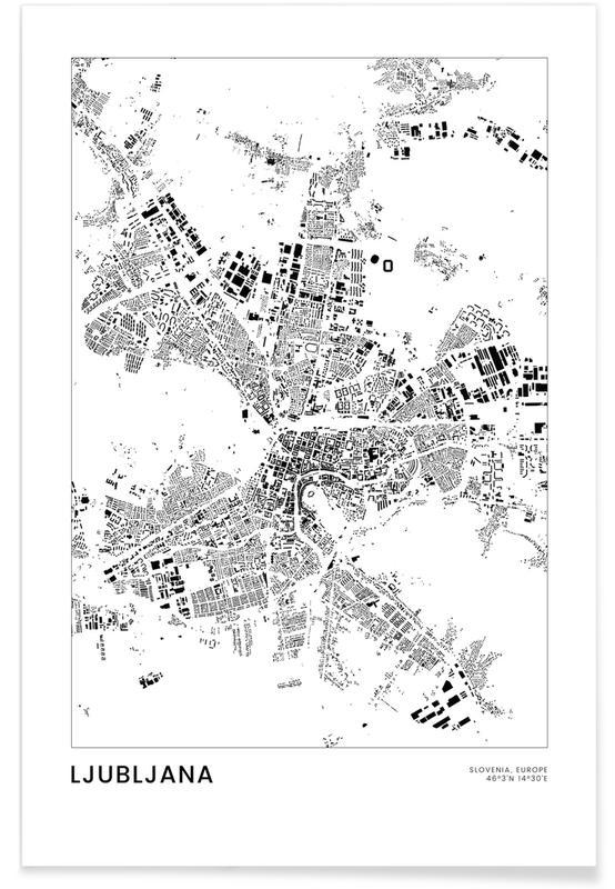 Mapas de ciudades, Viajes, Blanco y negro, Ljubljana póster