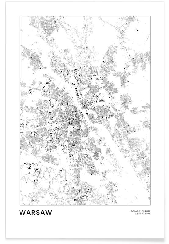 Bianco & nero, Mappe città, Viaggio, Warsaw poster