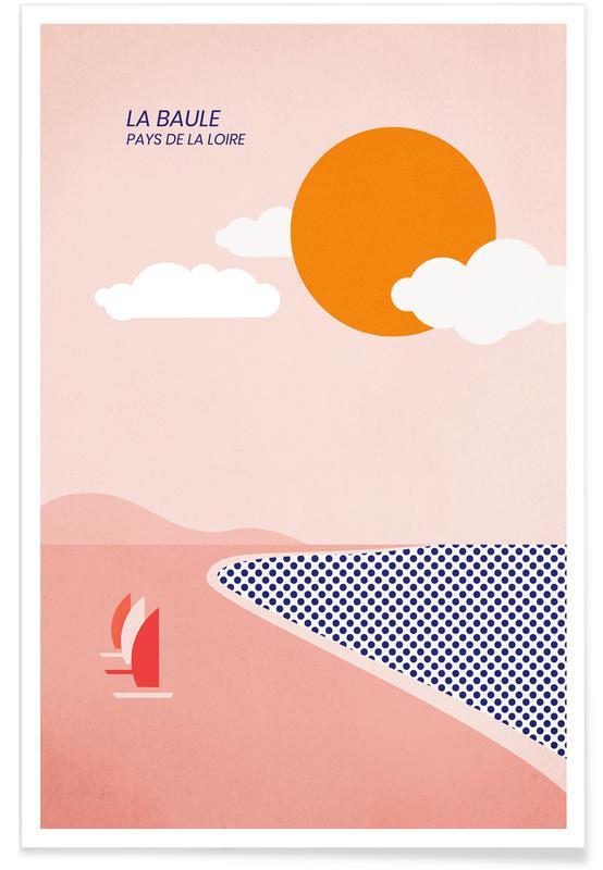Océans, mers & lacs, Paysages abstraits, Voyages, La Baule affiche