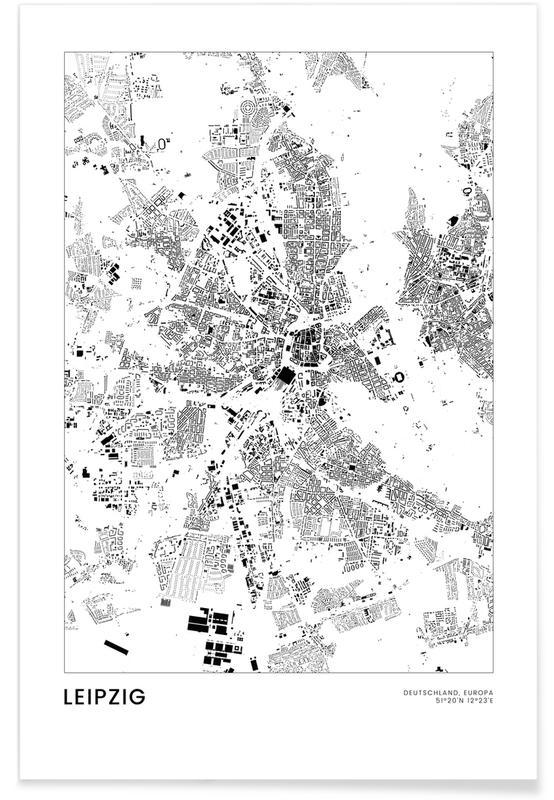Bianco & nero, Mappe città, Viaggio, Leipzig poster