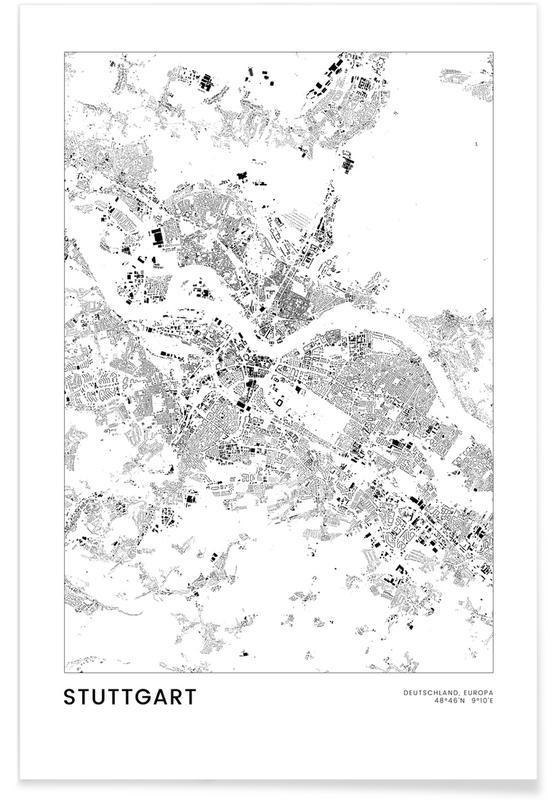 Sort & hvidt, Bykort, Rejser, Stuttgart Plakat