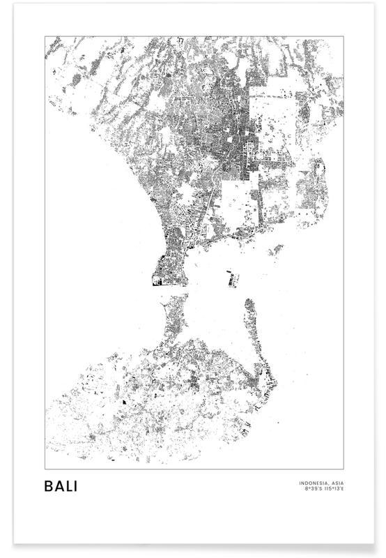 Voyages, Noir & blanc, Cartes de villes, Bali affiche