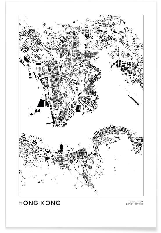 Hongkong, Sort & hvidt, Bykort, Rejser, Hong Kong Plakat