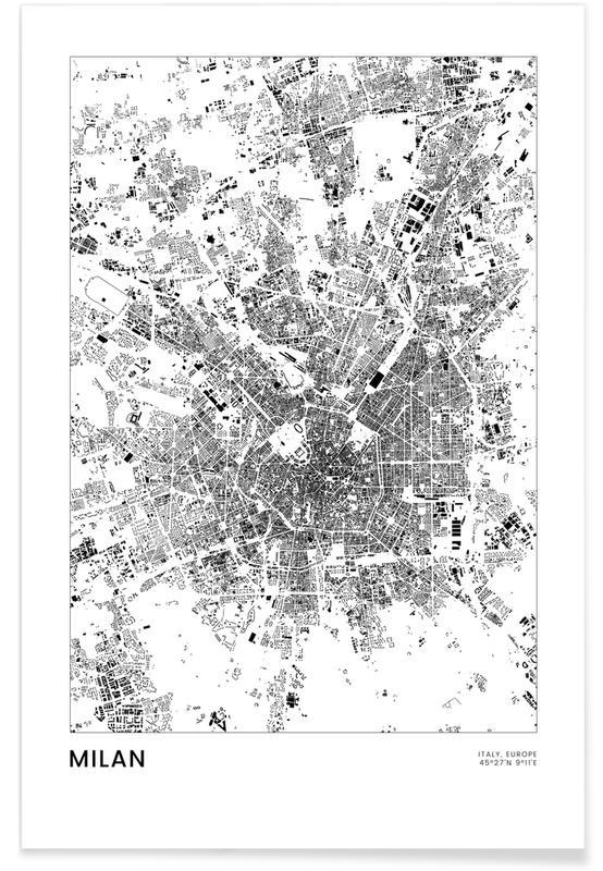 Sort & hvidt, Milano, Bykort, Rejser, Milan Plakat