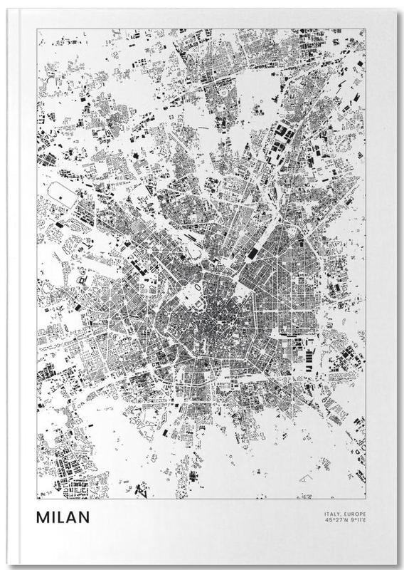 Stadtpläne, Mailand, Reise, Schwarz & Weiß, Milan Notebook