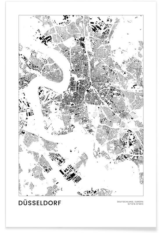 Mapas de ciudades, Viajes, Blanco y negro, Düsseldorf póster