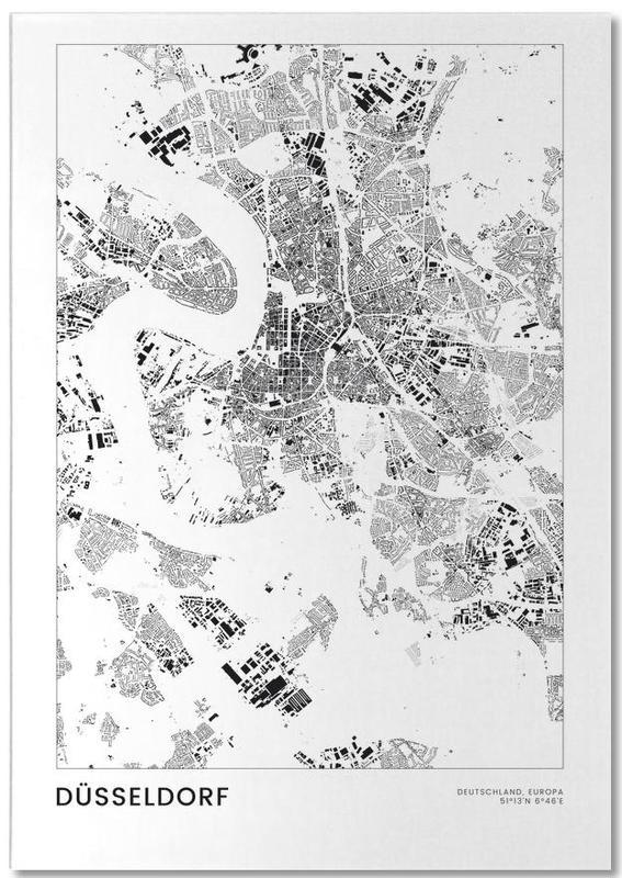 Reizen, Zwart en wit, Stadskaarten, Düsseldorf notitieblok